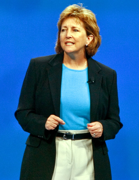 Susan Chambers, executive vice president of People Division at Wal-Mart, speaks to shareholders during the company's annual general meeting in Fayetteville, Arkansas.