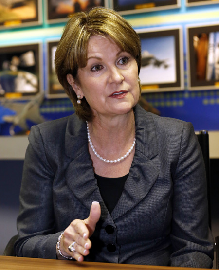 Marillyn Hewson at the Farnborough Airshow 2012.