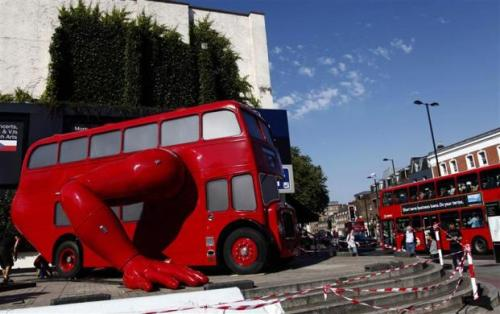 An amazing bus that does push-ups!