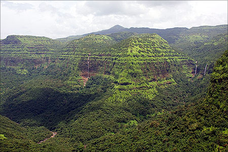 View from Varandha Pass which crosses the Sahyadris in Pune, Maharashtra.
