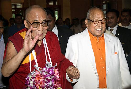 Captain C P Krishnan Nair with Dalai Lama.
