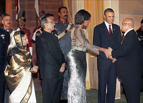 Captain C P Krishnan Nair with US president Barack Obama and Michelle Obama.