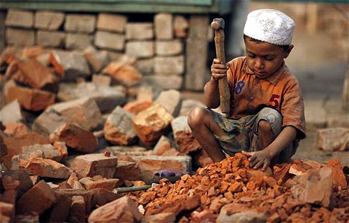 Sujon, 4, works in a brick field in Gabtoli, Dhaka.