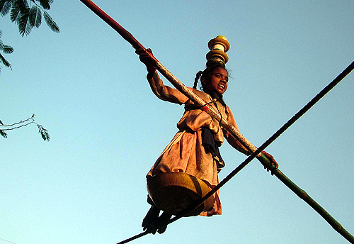 Gita, walks on a rope to earn her living on a street of Bhopal.