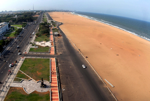 An aerial view of Marina beach.