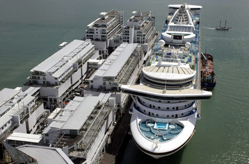 A cruise ship is berths at Princes Wharf in Auckland.