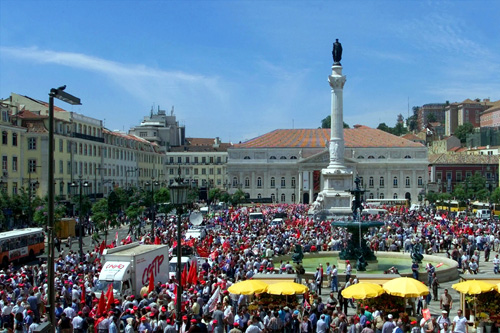 Thousands of Portuguese workers stage a march to protest against the center-right government's austerity policies in Lisbon.