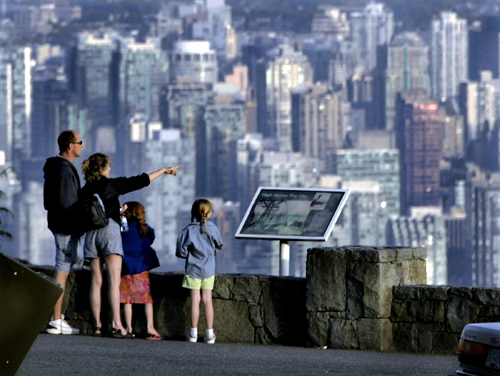 The downtown core of Vancouver, British Columbia is seen in the background.