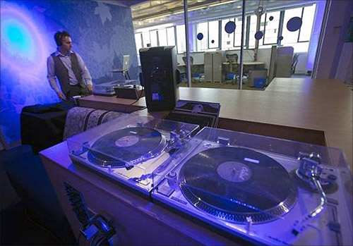 The music room is seen at the new Google office in Toronto.