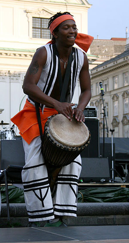 South African Dancers and Musicians; performance at a presentation of the nine host-cities of the 2010 FIFA World Cup in South Africa.
