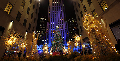 The tree is seen during the 80th Annual Rockefeller Center Christmas Tree Lighting Ceremony in New York.