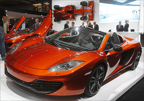 McLaren 12C Spider car is displayed on media day at the Paris Mondial de l'Automobile.