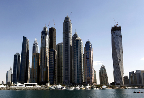 High rise towers are seen near the Dubai Marina in Dubai.
