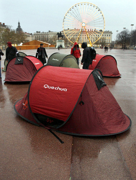 Tents for homeless people are set up in central Lyon.
