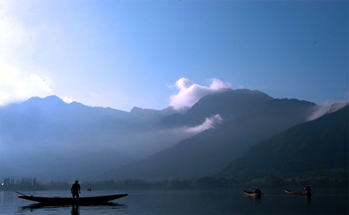 Fishermen in Dal Lake.