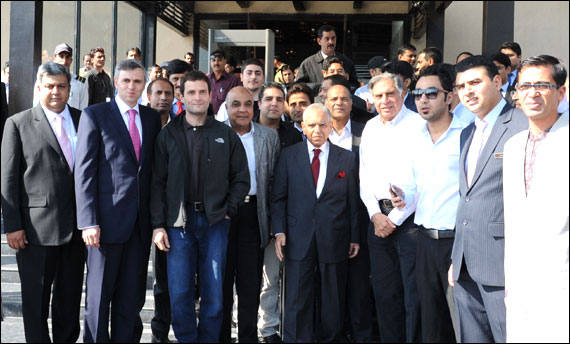 Rahul Gandhi with Omar Abdullah Ratan Tata, K M Birla, Rajiv Bajaj, Ashok Reddy and other business tycoons.