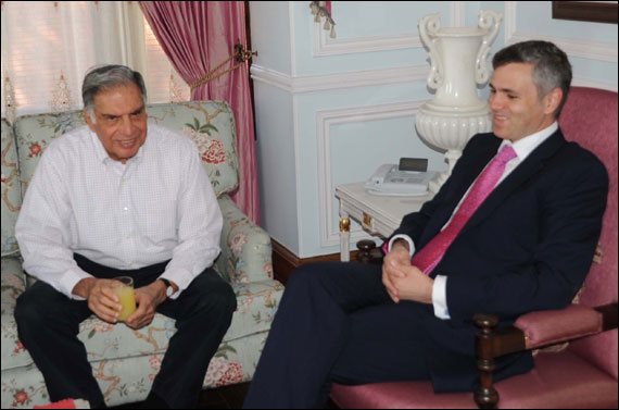 J and K Chief Minister Omar Abdullah with Ratan Tata.