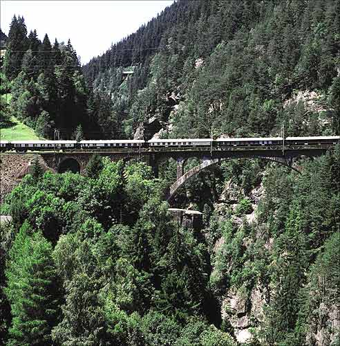 The Venice Simplon-Orient-Express in Gothard Switzerland.