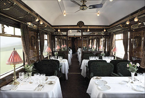 Restaurant Car Etoile du Nord on board the Venice Simplon-Orient-Express.