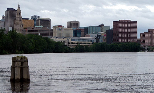 Hartford from the south on the Connecticut River.
