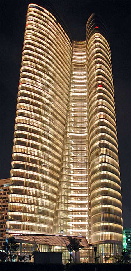 ADIA Tower at night.
