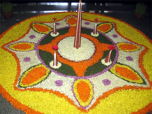 A floral arrangement made during the Onam celebration.