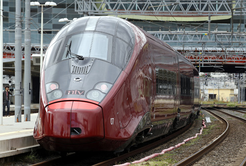 Italo, a new high-speed train for the NTV (Nuovo Trasporto Viaggiatori), is seen on a platform at the Tiburtina train station in Rome.