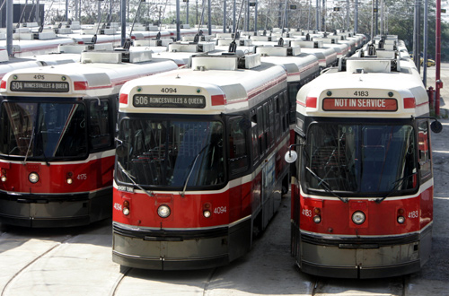 Toronto Transit Committee (TTC) streetcars are lined up in a yard after a wildcat strike by maintenance workers shut down public transit in Toronto.