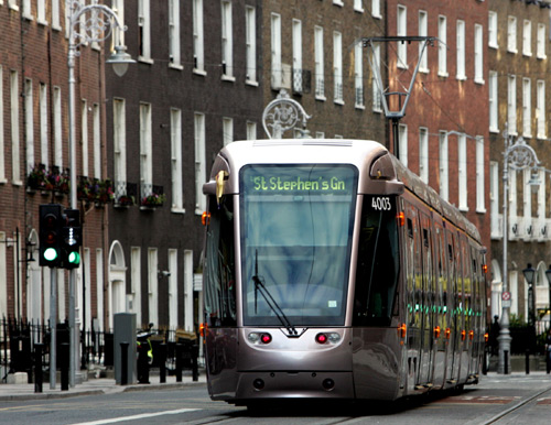 Tram service in south Dublin, Ireland.