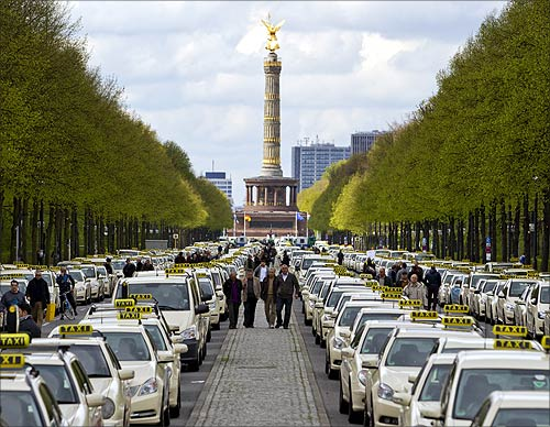 Taxis line the Strasse des 17. Juni thoroughfare in central Berlin.