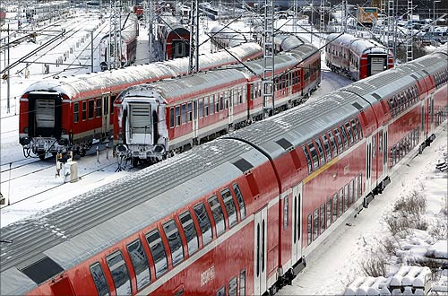 Trains are parked outside of the central station in Munich during heavy snowfalls in whole Bavaria.