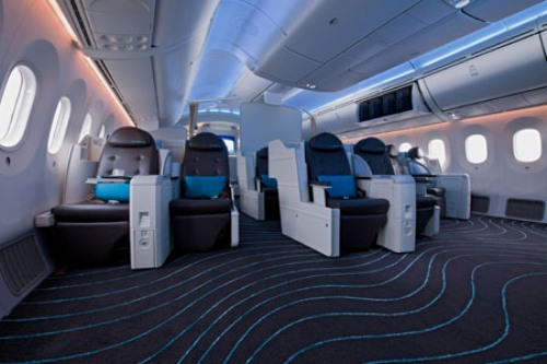 Interior view of the Dreamliner.