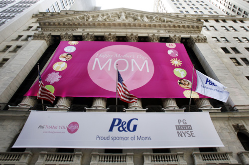 Procter and Gamble trademark is seen hanging outside the New York Stock Exchange in New York.