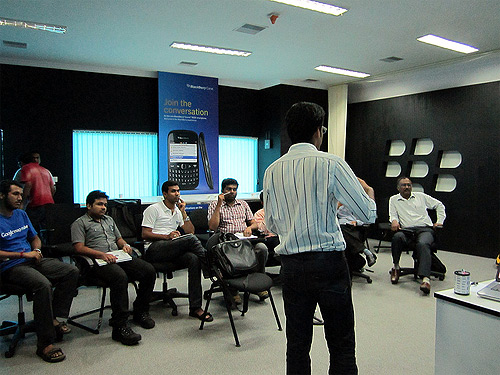 A presentation at the Startup Village office.