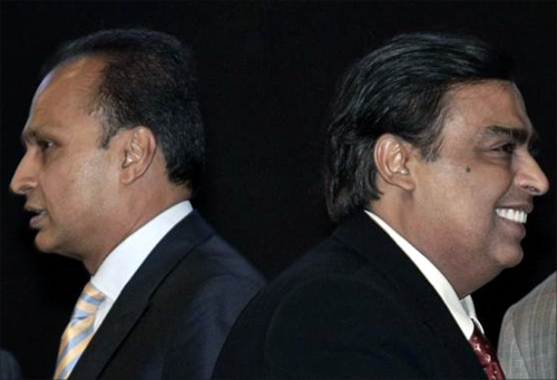 Anil Ambani (left) and Mukesh Ambani.