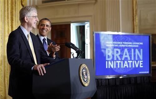 U.S. President Barack Obama is introduced by American physician-geneticist Francis Collins before his announcement of his administration's BRAIN (Brain Research through Advancing Innovative Neurotechnologies) initiative at the White House.
