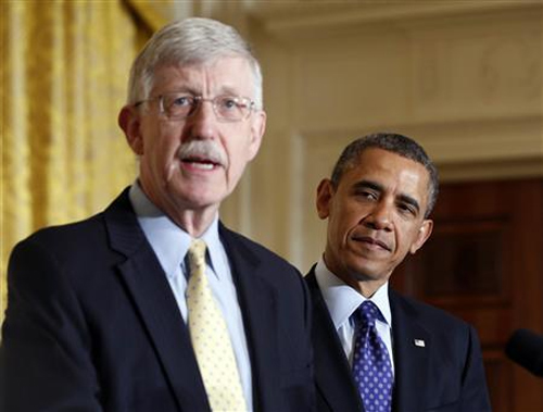 US President Barack Obama is introduced by American physician-geneticist Francis Collins at the White House.