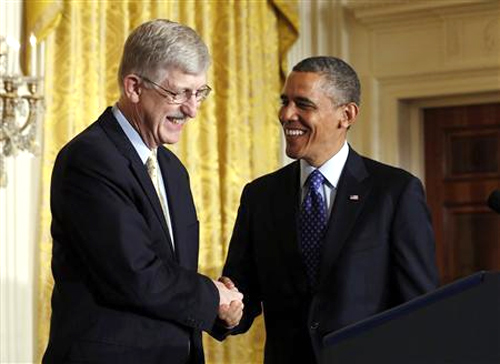 U.S. President Barack Obama with American physician-geneticist Francis Collins at the White House.