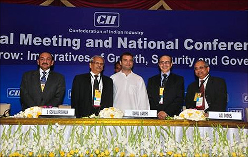 Rahul Gandhi at the CII meet.
