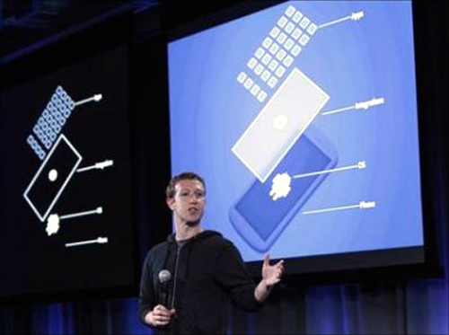 Mark Zuckerberg, Facebook's co-founder and chief executive speaks during a Facebook press event in Menlo Park, California.