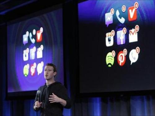Mark Zuckerberg, Facebook's co-founder and chief executive speaks during a Facebook press event in Menlo Park, California.