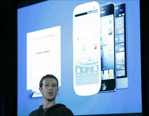 Mark Zuckerberg, Facebook's co-founder and chief executive during a Facebook press event to introduce 'Home' a Facebook app suite that integrates with Android, in Menlo Park, California.