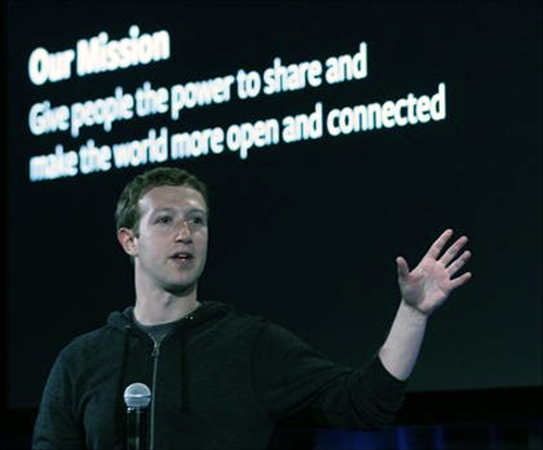 Mark Zuckerberg, Facebook's co-founder and chief executive speaks during a Facebook press event in Menlo Park.