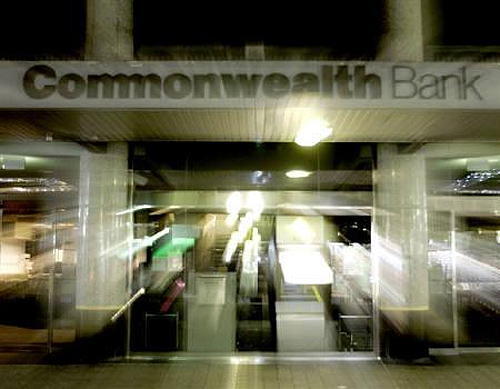 A Commonwealth Bank of Australia branch is seen in this time exposure shot in Sydney.