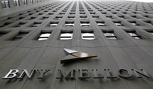 A BNY Mellon sign is seen on their headquarters in New York's financial district.