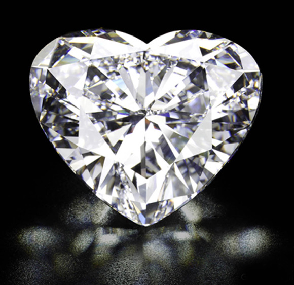 Unmounted heart-shaped diamond.