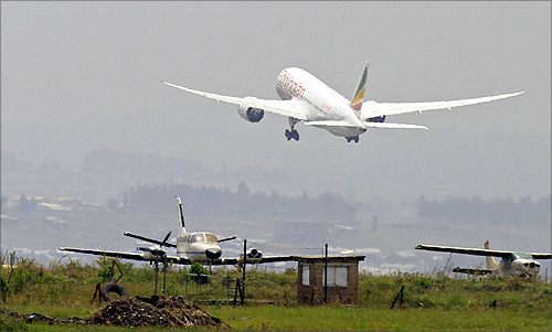 An Ethiopian Airlines' 787 Dreamliner takes-off from the Bole International Airport in Ethiopia's capital Addis Ababa.
