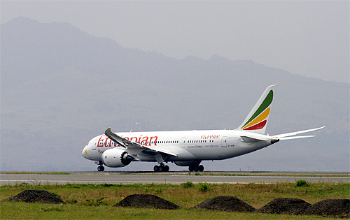 An Ethiopian Airlines' 787 Dreamliner departs from the Bole International Airport in Ethiopia's capital Addis Ababa.