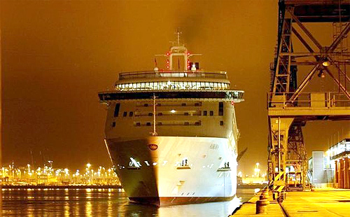 P and O cruise liner Aurora docks at Southampton in southern England,