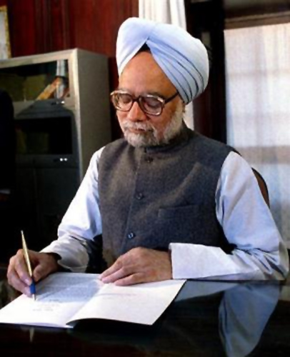Finance Minister Manmohan Singh goes through his budget speach in his office in New Delhi on the budget eve February 27, 1994.